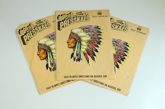 50s native american indian presskals sticker decal chief headdress 1950 decorative colorful