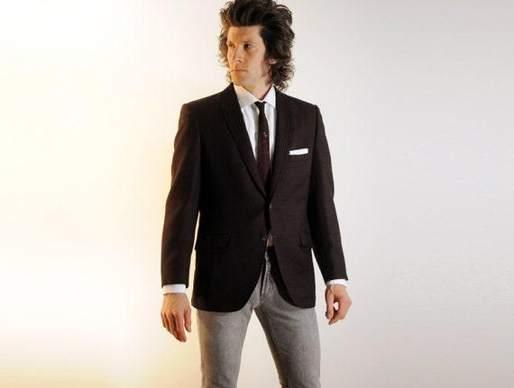 mens suit jacket, 60s blazer, plum burgundy, birdseye tweed, skinny lapel, striped lining, 38R 40S