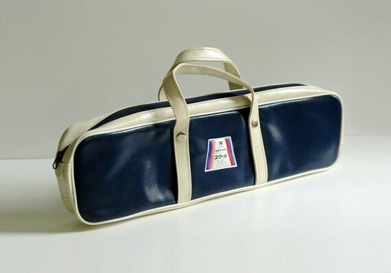 blue white vinyl travel bag, tie case, Japanese handbag, Suzuki 34C, 60s mod, 70s airline