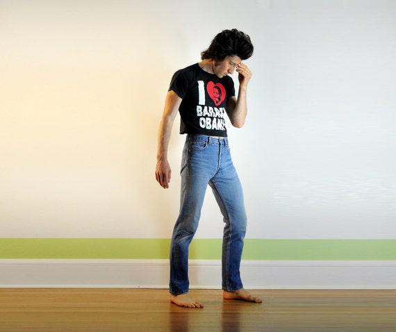 Levis 501 jeans, medium blue wash, super soft, perfectly worn in, skinny straight, slim, 30x32