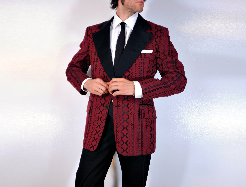60s 70s Red Christmas Tuxedo Jacket Mens Blazer Wine Brocade