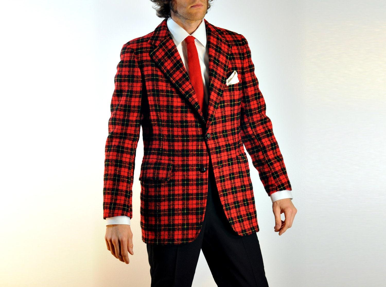 70s Mens Suit Blazer Christmas Tweed Plaid Red Black Yellow