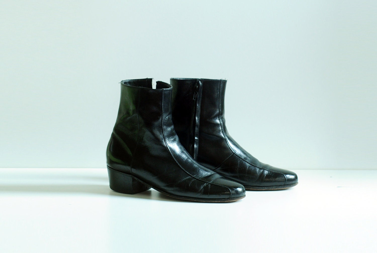 Black Chelsea Boots Beatle Boot Leather Florsheim Stacked