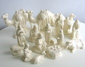 Christmas Nativity Set White 16 Pieces Handcrafted Holiday Decorations