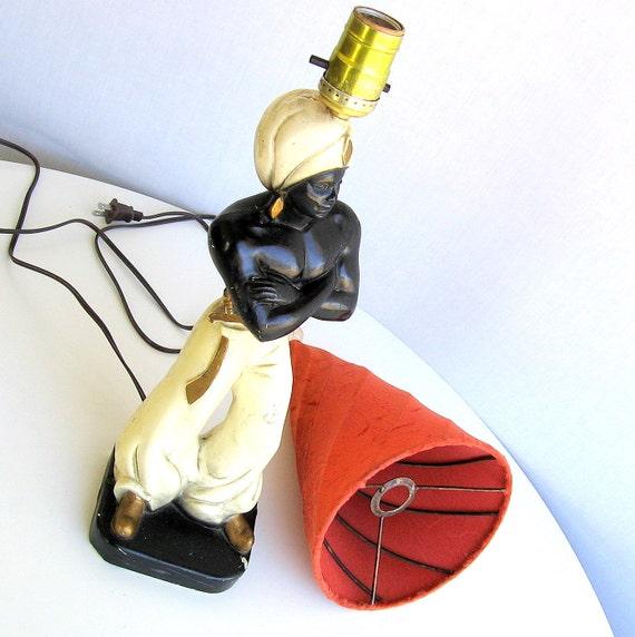 "50's Kitsch Lamp ""Arabian Nights"" Chalkware Boudoir Table Lamp"