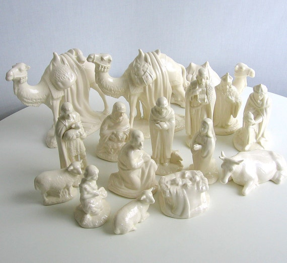 Christmas Nativity Set White 16 Pieces Handcrafted by ...