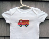 Fire Truck Applique Onsie Bodysuit