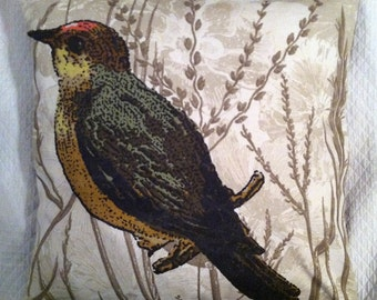 Vintage Look Bird Pillow Cover 20 inches