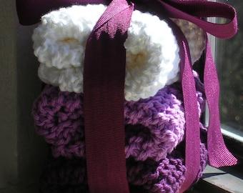 3 hand knit dishcloths