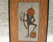 Happy Halloween - Jack Pumpkin Slicer A2 Card with Aged Parchment Envelope - candle background, axe, suit, evil, funny, skull