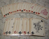 Alice in Wonderland Playing Cards - Full Size 52 Card Deck with sleeves - red queen, white rabbit, mad hatter, custom deck