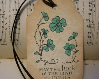 LUCK O THE IRISH - vintage style, shabby chic style hang tag, ephemera, gift tag, bookmark tag - st. patrick's day
