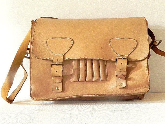 French Vintage Leather Satchel Messenger Bag Briefcase// thick// architect// Business//
