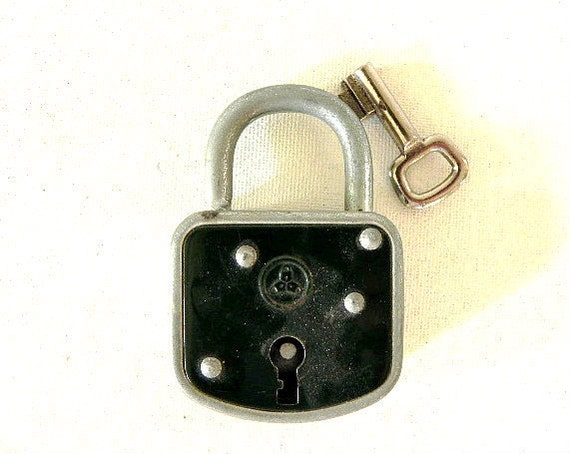 French Vintage black lock and key