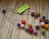Felted necklace on two strands in autumn colors