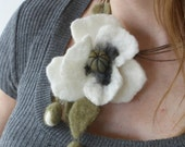 white poppy felted necklace for bride