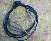 Felt necklace in blue grey purple Winter sea shades