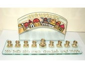 A  Menorah for Hanukkah - Hand Painted Glass