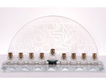 A Menorah for Hanukkah - Hand Etched Glass