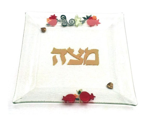 Matza Plate for Pesach - Hand Painted and Decorated with Pomegranates
