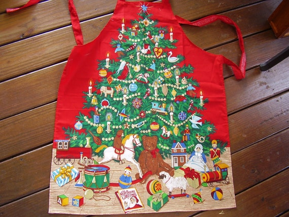 Christmas Tree Toys Decorations Adult Holiday Apron Handmade