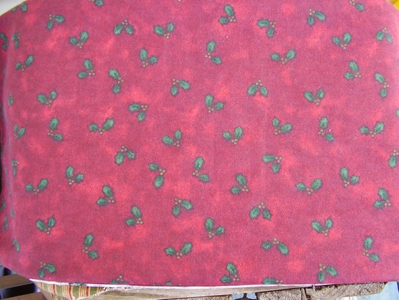 Debbie Mumm Fabric Flannel Marbled Burgundy Green Holly Leaves Gold Berries