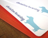 Personalized Polka dot Dachshund in Blue Flat Notes - Set of 8