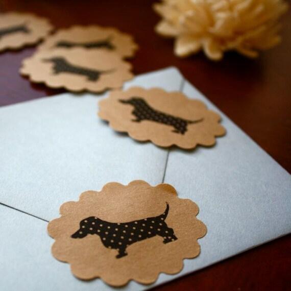 Polka-dot  Dachshund Sticker Black and Kraft Brown Seals  Set of 40