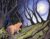 Bear and Trillium Moon, Signed Open Edition Print