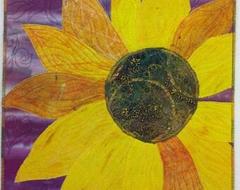Sunflower Art Quilt - Original Art - Fiber Art - 9x12 Hand Dyed - Textured Fabric - Wall Quilt - Hand Beaded - Appliqué - Thread Painted