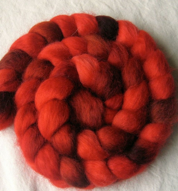 "Hand dyed Norwegian wool roving, ""Temper, Temper"""
