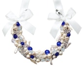 Something Blue Lucky Horseshoe with Blue Swarovski Crystals and Freshwater Pearls