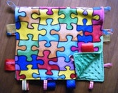 Autism Awareness Puzzle Pieces Baby Ribbon Tab Tag No Loops Fleece Blanket with Minky Dots