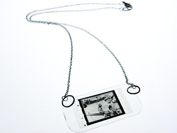vintage newsreel film necklace . mascot