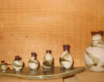 Russian Doll Miniature Scale Porcelain Pottery Vase Set