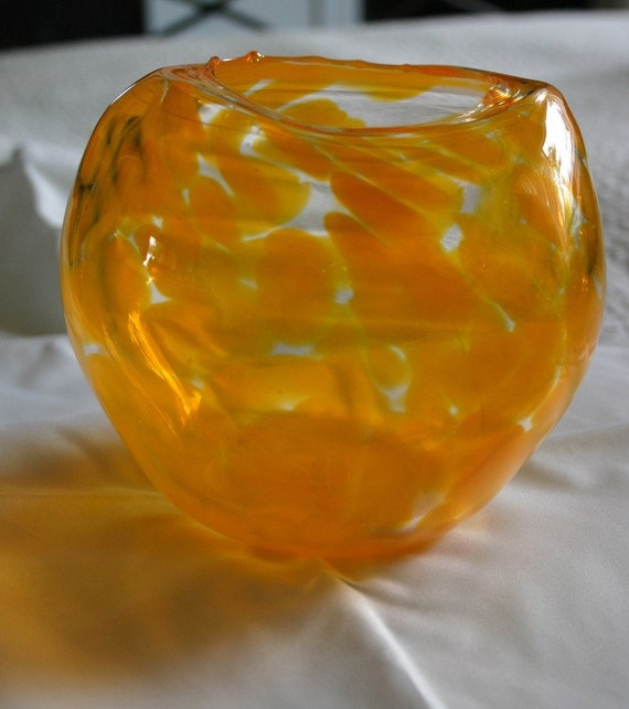 Orange Blown Glass Bowl