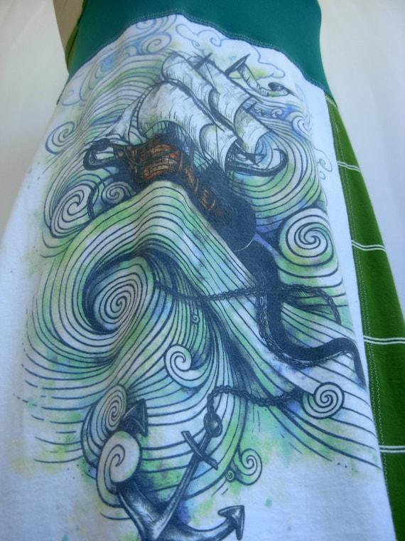Stormy Seas nighTee - Upcycled Cotton Sleepwear, size 8-10