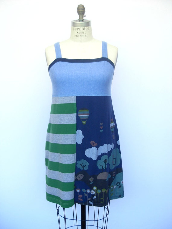 Birdies and Balloons nighTee - Upcycled Cotton Sleepwear, size 8-10