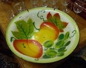 Vintage Metal Bowl Enamelware Fruit Bowl circa 1950's Kitchen and Serving