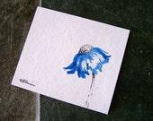 Cone Flower in Cobalt Blue, Scrap Paper Painting, Original Watercolor