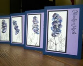 Bubble Bluebonnet Cards, Set of Four Thank You Notes, Orignial Watercolor Paintings (Set 2)