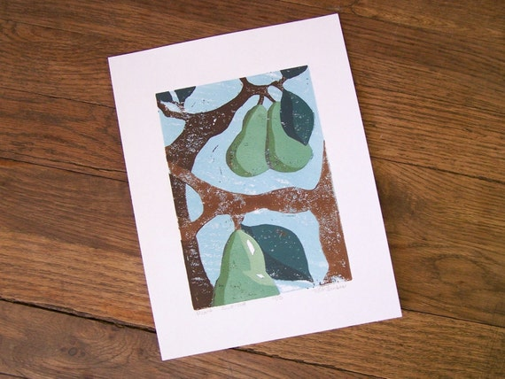 Pears Against Blue Sky, Original Linocut