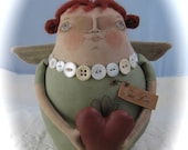 Folk Art Claddagh angel doll