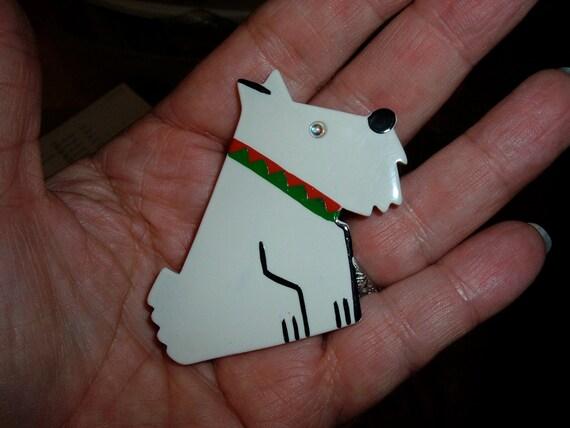 pavone paris designer scottie westie terrier dog galalith pin