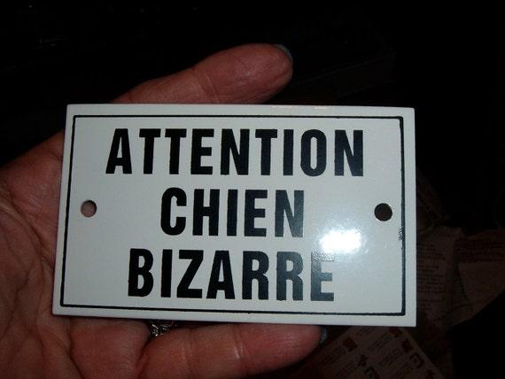 vintage french strange dog chien bizarre enamel metal sign