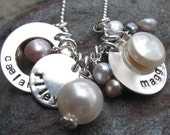 Mixed pearl sterling silver hand stamped charm necklace - Personalized Jewelry - Mommy Jewlery