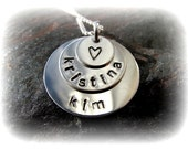 Triple Disc Mommy Necklace- Sterling Silver