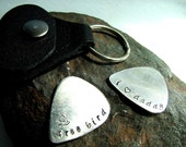 Personalized Guitar Pick and Leather Keychain Case