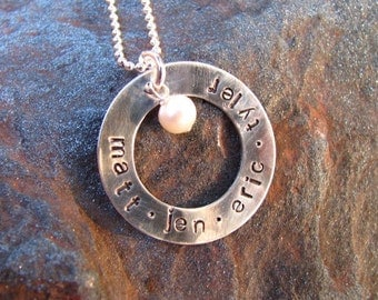 FAMILY CIRCLE Hand Stamped Sterling Silver Lowercase Necklace - Mommy Jewelry - Personalized Jewlery