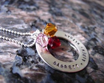 Sterling Silver Personalized Hand Stamped TRIPLE BIRTHSTONE Necklace